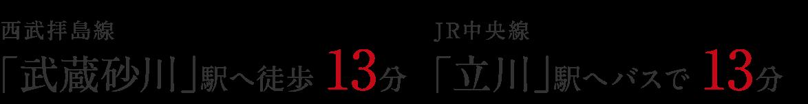 西武拝島線「武蔵砂川」駅へ徒歩13分。JR中央線「立川」駅へバスで13分。