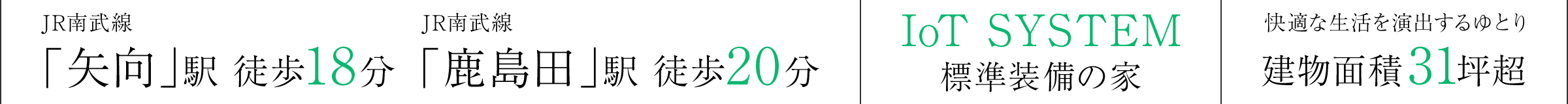 JR南武線「矢向」駅 徒歩18分 JR南武線「鹿島田」駅 徒歩20分 IoT SYSTEM 標準装備の家 快適な生活を演出するゆとり建物面積31坪超
